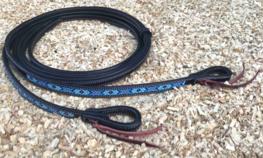Black Leather Split Reins Navy Blue Beads