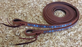 Chestnut Leather Split Reins with Beads