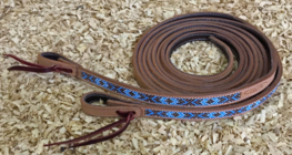 Russet Leather Split Reins with Beads