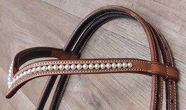 Frontriem V- Brow Swarovski Pearls XL | 4 kleuren |