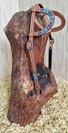 Western Hoofdstel Beads Double Ear Russet