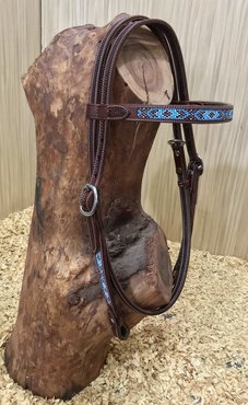 Western Hoofdstel Beads Browband Dark Chestnut
