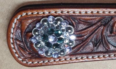 Concho Rhinestone Antique Silver Montana