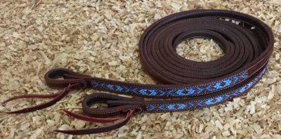 Dark Chestnut Leather Split Reins with Beads